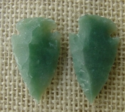 1 pair arrowheads for earrings stone green replica point ae90
