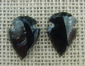 1 pair arrowheads for earrings black obsidian replica obe66