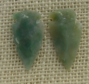 1 pair arrowheads for earrings stone green replica point ae99