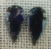 1 pair arrowheads for earrings black obsidian replica obe59