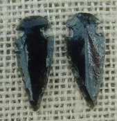 1 pair arrowheads for earrings black obsidian replica obe55