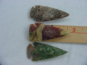 3 replica jasper arrow heads 2 1/2 inch arrowheads xcy116