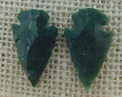 1 pair arrowheads for earrings stone green replica point ae10