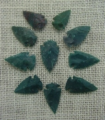 10 arrowheads dark green stone points replica arrow heads sp2