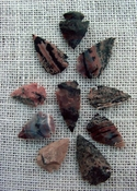 10 arrowheads with spots spotted reproduction bird points ks505