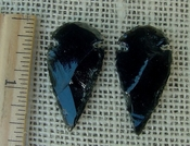 Pair of obsidian arrowheads for making custom jewelry ae191