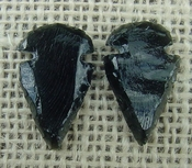1 pair arrowheads for earrings black obsidian replica obe6