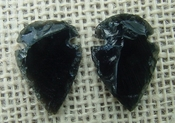 1 pair arrowheads for earrings black obsidian replica obe61