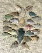 24 stone arrowheads 1 spearhead bulk arrowheads earthy ms6