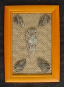 Framed arrowheads spearhead collection replica earthy tones pf13