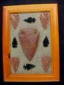 Framed arrowhead spearhead collections replica earthy tones fa16