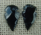1 pair arrowheads for earrings black obsidian replica obe38