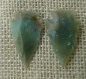 1 pair arrowheads for earrings stone green replica point ae59