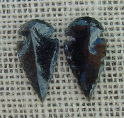 1 pair arrowheads for earrings black obsidian replica obe47