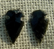 1 pair arrowheads for earrings black obsidian replica sa444