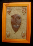 Framed arrowhead spearhead collection replica rusty tones fa17