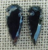 1 pair arrowheads for earrings black obsidian replica obe50