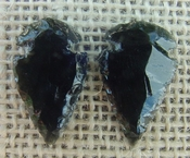 1 pair arrowheads for earrings black obsidian replica obe56
