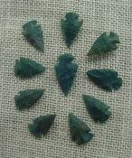 10 arrowheads dark green stone points replica arrow heads sp39