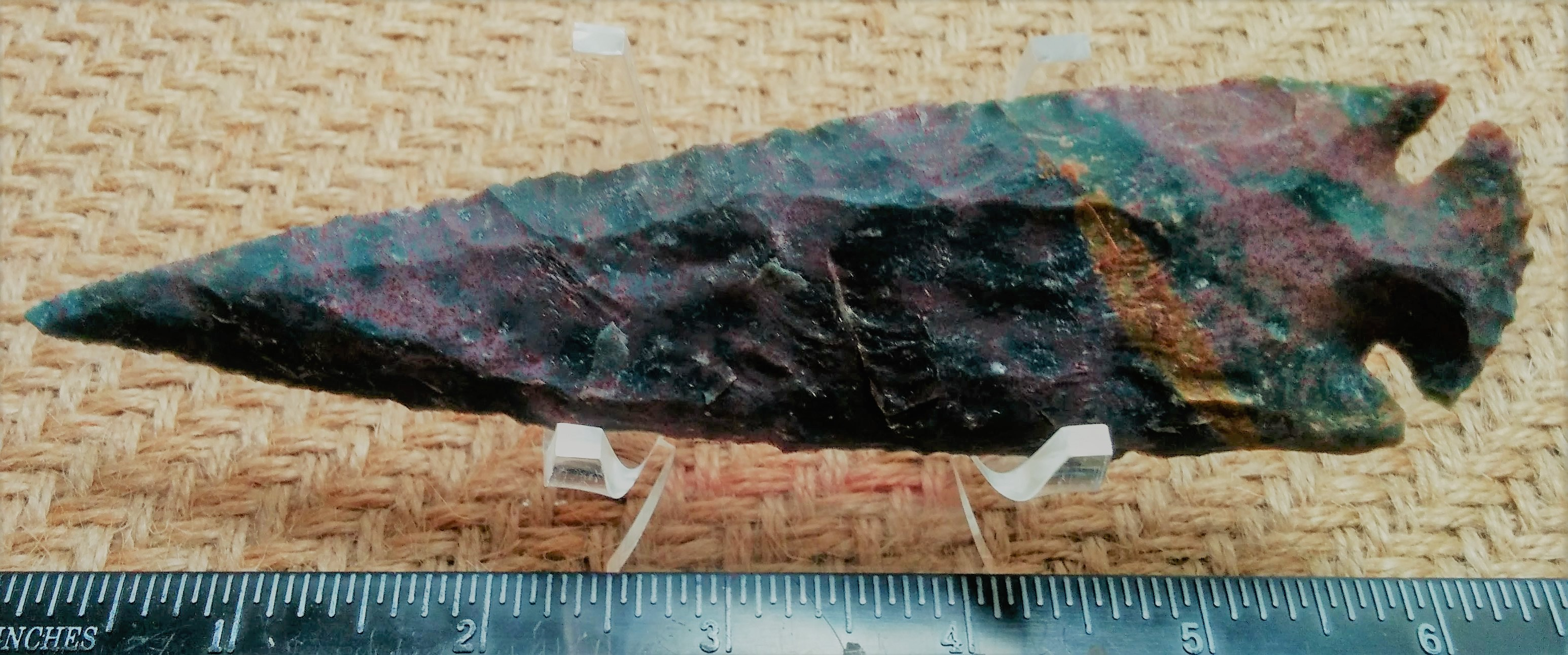 Reproduction spearhead 5 1/2 inch replica stone jasper ya409