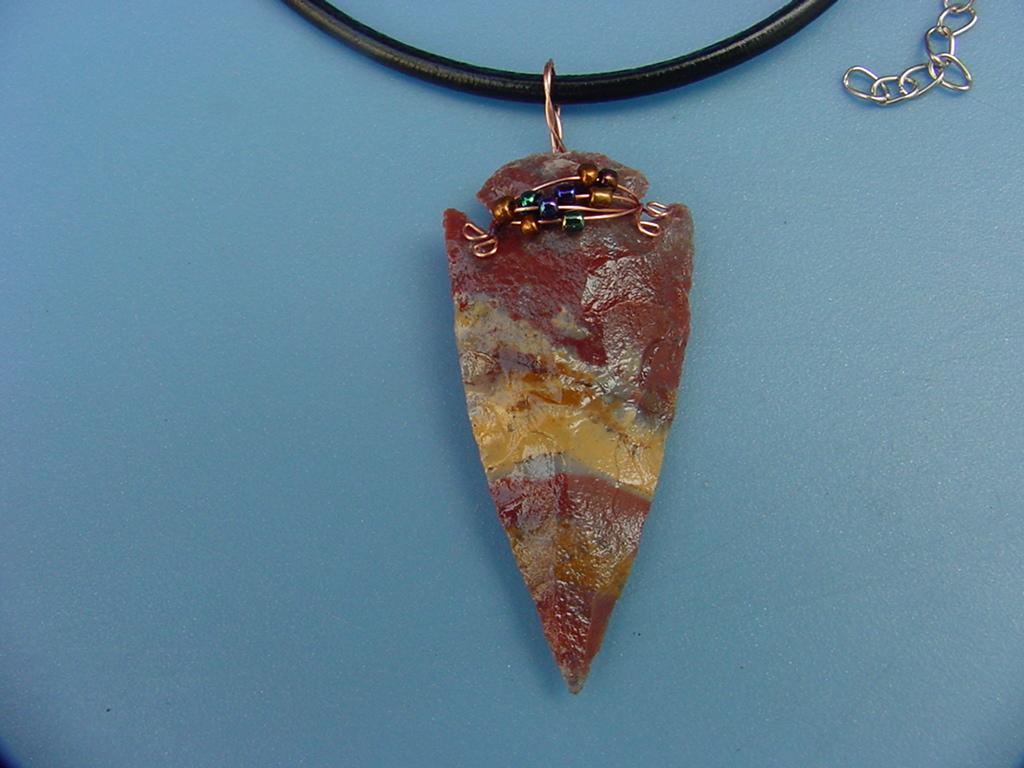 Rust Agate tube  Rust and purple arrowhead pendant